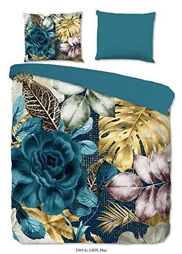 Good Morning! Ropa de cama Renforcé de 2 piezas, funda nórdica de 140 x 220 cm y funda de almohada de 60 x 70 cm Lidy 2363.68.01 Petrol