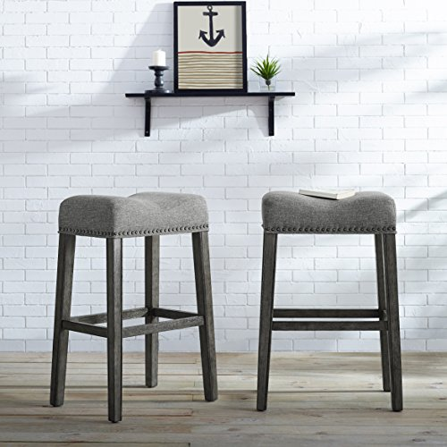 Roundhill Furniture Coco Upholstered Backless Saddle Seat Bar Stools 29' Height Set of 2, Gray