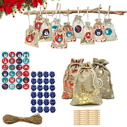 TUXUNQING 24 calendarios de Adviento rellenables, Bolsas, Bolsas de Calendario de Adviento (Bolsas niños con Pegatinas numeradas). (Azul)