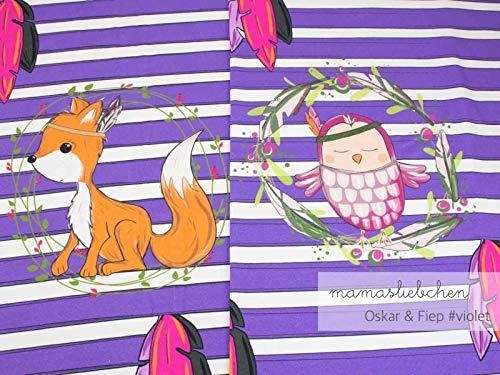 Mamasliebchen Jersey-Stoff Oskar & fiep #Violet (ca. 0,6m / 1Panel) Fuchs Eule Panel