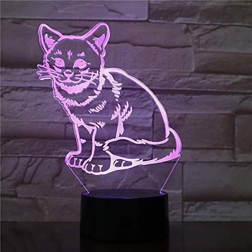 Chaton chat animal de compagnie lampes 3D décoration de lumière de nuit chambre à coucher capteur de lumière de nuit tactile