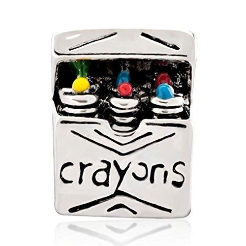 Joshua Home Jewelry Crayon Box Charm Bead for Snake Chain Charm Bracelet Graduation Charm Bead