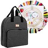 CURMIO Kit de inicio de bordado, kit de herramientas de punto de cruz con bolsa de almacenamiento, hilos de 100 colores, 5 aros de bordado, 3 paños Aida y otras herramientas de bordado, Negro