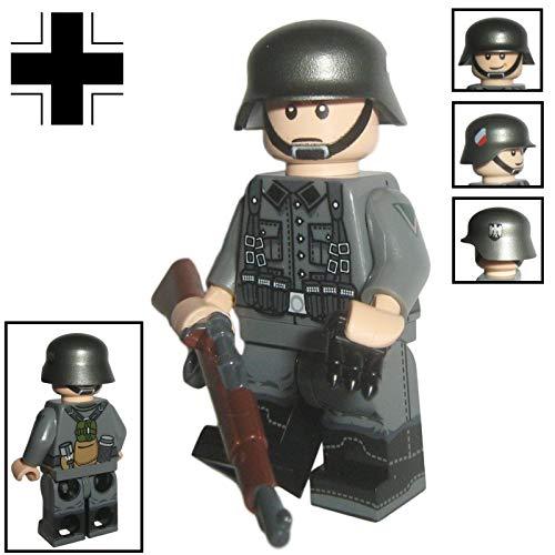 Custom Brick Design - WW2 Serie - Deutscher Soldat V.1 Figur - modifizierte Minifigur des bekannten Klemmbausteinherstellers & somit voll kompatibel zu Lego