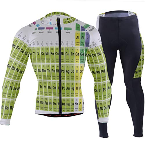 SLHFPX Mens Cycling Jersey Periodic Table of Element Long Sleeve MTB Bike Shirt Pad Pants Set