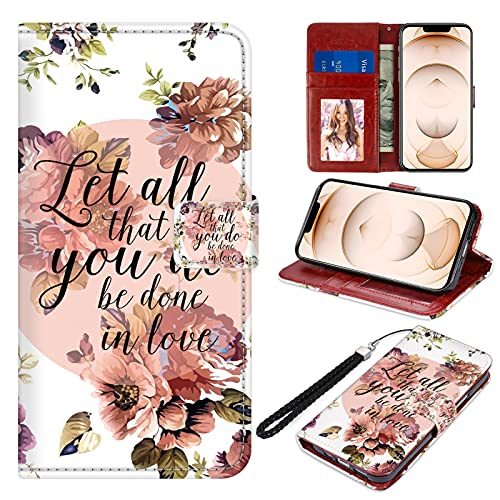 SAKUULO Wallet Case for iPhone 13 Pro Max Bible Verse Quotes Holy Christian Flowers Full-Body Shock Absorption Leather Case Magnetic Closure Folio Flip Cover with Card Holder Kickstand and Lanyard