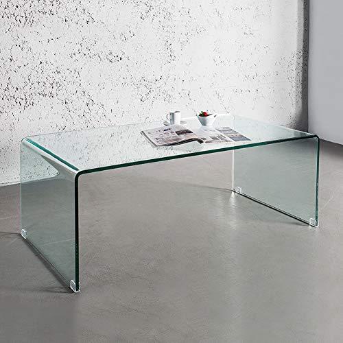 CAGÜ: Design Glascouchtisch Couchtisch [Mayfair] Glas transparent 110cm x 60cm