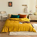 King Duvet Cover Solid Yellow Bedding Set Cotton Comforter Cover Set Luxury...