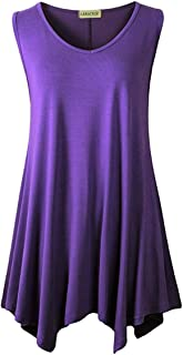 LARACE Women V-Neck Tank Top Tunic for Leggings(M, Deep Purple)
