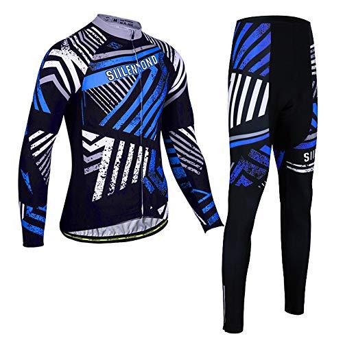 PGone Hommes Manches Longues Maillot Cyclisme - Route en Plein air d'hiver Vélo VTT Vêtements Bleu et Blanc Traces (Size : Large)