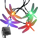 Dragonfly Solar String Lights Outdoor 20.8 Feet 30 Led Waterproof Solar Powered Fairy Lights, 8 Modes Decorative Lights for Patio Garden Yard Fence Wedding Christmas Party, Multicolor