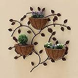LHLYL-DP An der Wand montiertes Pflanzenregal, kreativer Blumenständer, hängende Zweigform Metallpflanzenständer, Pflanzbalkon Innenwanddekorationsrahmen (3 Körbe),Messing