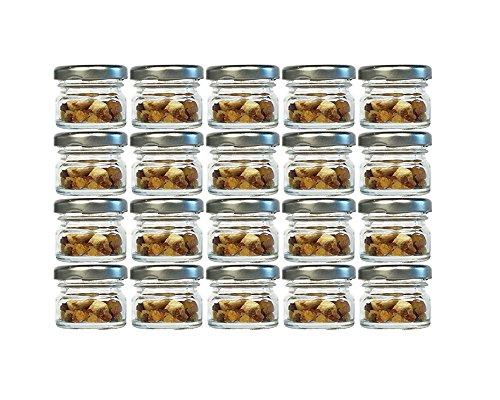 20er Set Sturzgläser Mini Gläser   Füllmenge 30 ml   Deckelfarbe Silber   To 43 Rundgläser Marmeladengläser Obstgläser Einweckgläser Honig Gläser Einmachgläser Probiergläser, Imker
