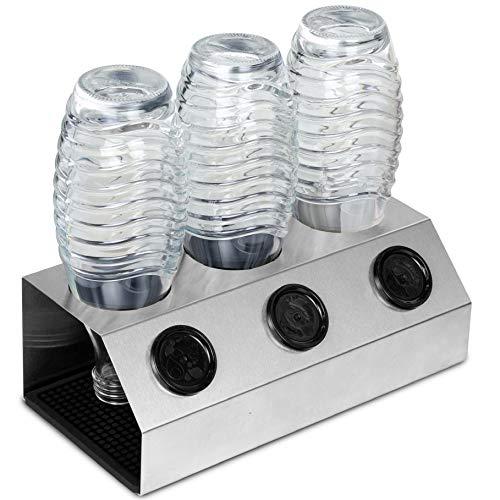 Cucino afdruiprek flessen incl. afdruipmat - geschikt voor Sodastream Crystal, Easy & Co, antislip stand, perfecte SodaStream accessoires van roestvrij staal