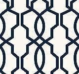 York Wallcoverings GE3664 Ashford Geometrics Hourglass Trellis Wallpaper, Navy Blue/White