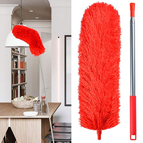 Duster for High Ceiling, 100.6in Extendable Duster for Cleaning, Telescoping Long Handle Duster with Bendable Head, Microfiber Duster with Extension Pole, Feather Dusters for Home