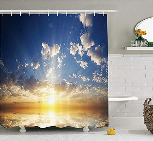 Mystic House Decor Shower Curtain, Sunset Reflection on The Sea View with Sunlight in The Horizon, Polyester Fabric Bathroom Set with Hooks, 72W x 79L Inch Bath Curtains, Yellow Brown and Blue