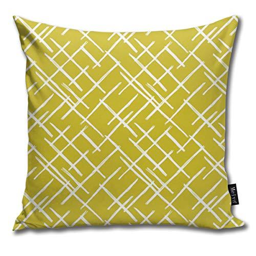 Funda de cojín abstracta con diseño geométrico de rayas diagonales a cuadros y líneas, diseño de cuadros, color amarillo ocre para decoración del hogar, para regalo, hogar, sofá, cama, coche, 45,7 x 45,7 cm