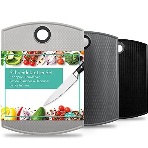 Hausfelder tabla de cortar grande de plástico - tabla de cortar cocina de 3 piezas juego de tablas para cocina apto para lavavajillas y sin BPA 35x26cm (3 piezas en antracita, gris y negro)