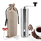 Manual Coffee Grinder,UNIFUN Burr Coffee Crinder Stainless Steel with Adjustable Ceramic Conical Burr, Hand Crank Mill, Compact Size Perfect for Your Home, Office or Travelling