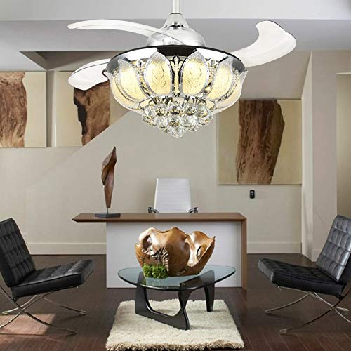 Moooni Dimmable LED Fandelier Retractable Ceiling Fans with Lights and Remote Crystal Chandelier Fan Light Kit -Polished Chrome 36 Inches