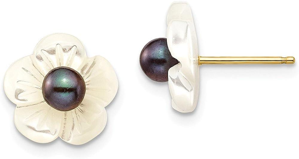 14K 3-4mm Black Fw Cultured Pearl W/10 mm Mop Flower Post Earrings