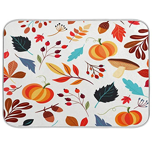 食器乾燥マット 秋かぼちゃ 紅葉 ベビーボトルマット Lサイズ 18 x 24 吸収性 食器水切り器 キッチンカウンター乾燥マットプロテクター