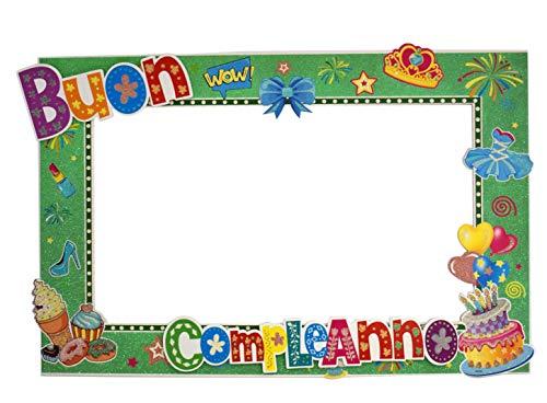 Aurora Store Cornice Photobooth Buon Compleanno Verde 57x89 cm Selfie Foto Happy Birthday