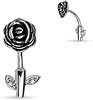 Freedom Fashion Blackline Fleur De Lis 316L Colorline Steel Belly Button Ring Sold Individually