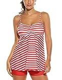 Avidlove - Conjunto tankini de baño para mujer, dos piezas, tallas grandes, traje de baño con parte superior y pantalón corto, tallas S-XXXL Modelo 1: rojo. XXL