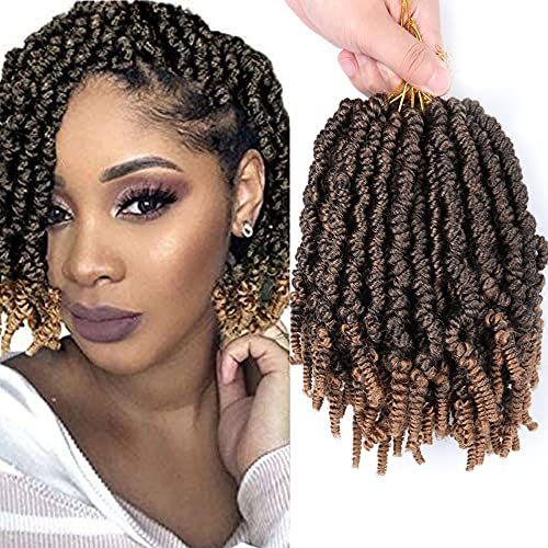 3 Packs Short Curly Pre-twisted Spring Twist Crochet Hair 8Inch Bomb Braids Pre-Twisted Passion Twist Black Bob Spring Twist Braiding Hair Extensions for Black Women(T1B/27#)