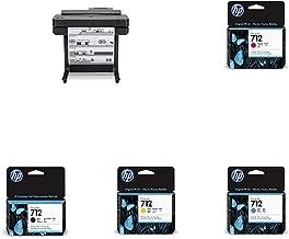 "HP DesignJet T650 Large Format Wireless Plotter Printer - 24"" (5HB08A), with Standard Genuine Ink Cartridges (4 Inks) - Bu..."