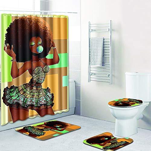 DDS-DUDES 4 Stück Afroamerikaner Schwarze Frauen wasserdichte Duschvorhang-Sets für Badezimmer mit rutschfesten Teppichen, Toilettenbezug & Badematte, 12 Kunststoffhaken (Gelbgrün)