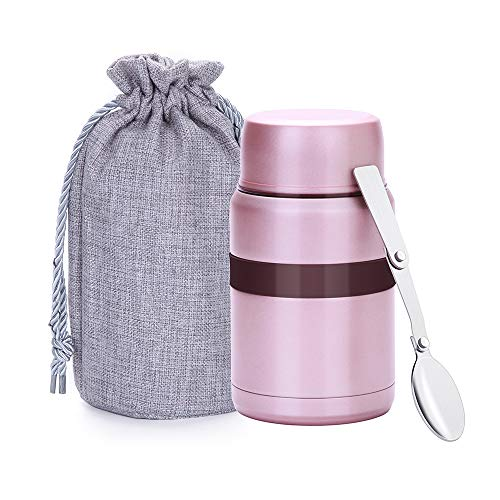 Merysen 500 ml Vacuum Insulated Hot Food Flask, Stainless Steel Food Jar with Folding Spoon Storage Bag, Leakproof Food Container for Kids Adults, Pink