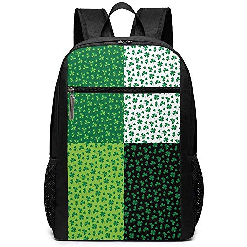 WlyFK Rugzak St. Patrick'S Day Shamrock Unisex Aangepaste Schoudertassen, Volwassene Student Dubbele Rits Sluiting Casual School Bag