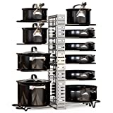 GeekDigg Pot and Pan Organizer for Cabinet, Extensible and Length Adjustable Lid Rack for Kitchen Counter and Cabinet, Lid Organizer for 10+ Pots and Pans with 6 DIY Methods (Silver)