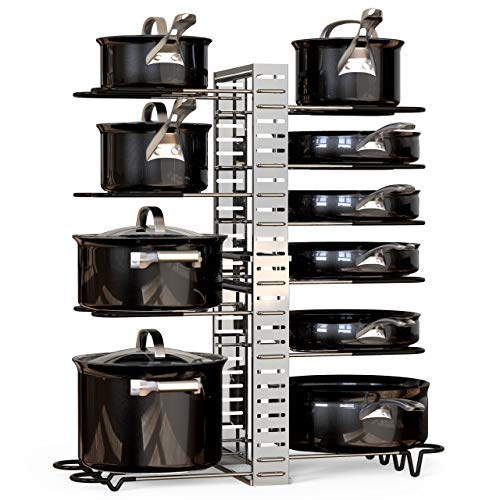 GeekDigg Pot and Pan Organizer for Cabinet Extensible and Length Adjustable Lid Rack for Kitchen Counter and Cabinet Lid Organizer for 10 Pots and Pans with 6 DIY Methods Silver