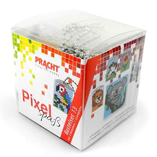 P90031-63501 Pixel Spaß Bastelset 13, zur Gestaltung von 4 Schlüsselanhängern (Medaillons) für Kinder, kinderleichtes Stecksystem, ohne Bügeln und Kleben, Steinchen aus Biokunststoff