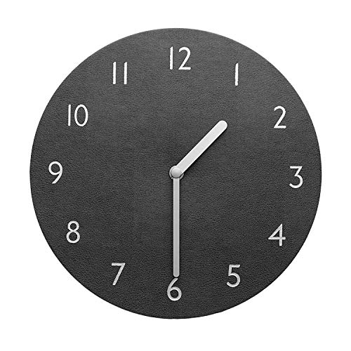 "Thehaki decorative wall clock silent & non-ticking quartz clock pu leather lightweight 0. 4lb round 9"" (grey)"