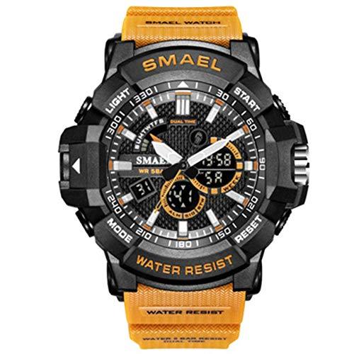 AYDQC Reloj de los Hombres de múltiples Funciones de los Deportes exhibición Impermeable Moda Tiempo Reloj electrónico Casual Male cronógrafo de Cuarzo Reloj de Pulsera fengong (Color : D)