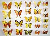 Mariposa Amarilla 3D Pegatinas de Pared para Sala de niños Sala de Estar DIY diseño Tatuajes de Pared Accesorios de decoración del hogar 12 unids/Set