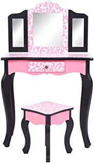 Alwaysprekit Mirror Makeup Dressing Table Writing Desk with Makeup Stool Set Three-Fold Mirror Single Drawer Arc Feet Children Dresser Vanity Table Red Leopard Print