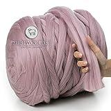 MeriWoolArt 100% Merinowolle zum Stricken & Häkeln mit 4-5 cm dickem Garn
