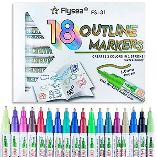 Yourenyuan Rotuladores mágicos de dos líneas, bolígrafos mágicos de colores 12/18, la actividad creativa para niños, bolígrafos mágicos de contorno para oficina en casa, adicción al sol