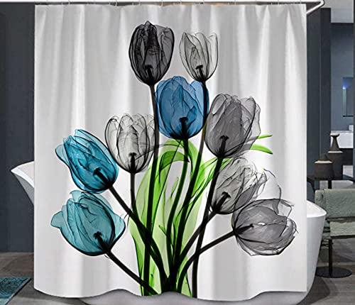 JOVEGSRVA Blaugraue Blume Duschvorhänge Wasserdicht Badvorhänge Trennvorhang Formsicherer Badvorhang Mit 12 Haken 180 X 180 cm