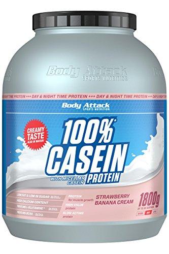 Body Attack 100% kasein protein, jordgubbsbanana, 1 800 g
