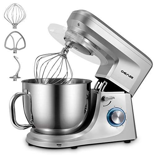 CHeflee Küchenmaschine 1800W Hochleistungs-Knetmaschine Multifunktion mit Knethaken Rührhaken Schneebesen 7,2 Liter Edelstahl-Schüssel