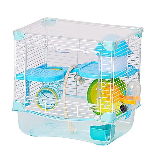 Jaula para Hámster Roborowski Jaula para Hámster 27*21*27cm jaulas Hamsters pequeña Bebedero comedero (Azul)