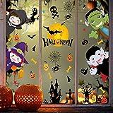 heekpek Halloween Pegatinas de Ventanas y Escaparate Pegatinas de Decoración para Halloween Pegatinas Niño Familia Fiesta de Halloween Decoración (8 Hojas)