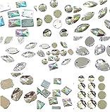 Perlin 100 piedras brillantes para coser, 2 agujeros, piedras de costura, botones de cristal, piedras acrílicas, cristales y AB, parte trasera plana, juego de formas facetadas